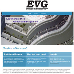 Bild Screenshot Mini Homepage der EVG mbH in Hamburg